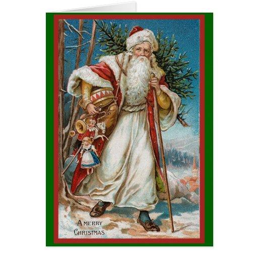 Vintage Santa con los juguetes Tarjeta De Felicitación