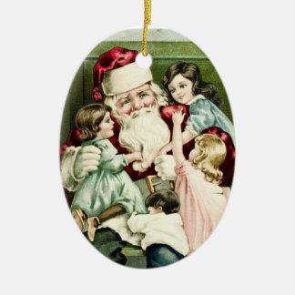 Vintage Santa con los niños Ornaments Para Arbol De Navidad