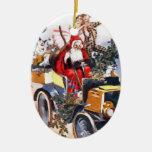 Vintage Santa con los payasos en el coche personal Adorno Para Reyes