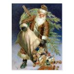 Vintage Santa con los presentes Postales