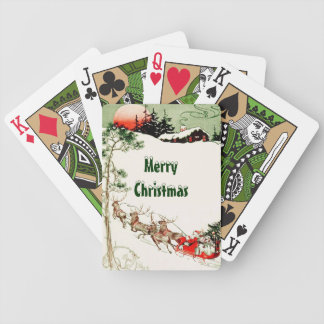 Vintage Santa Country Cabin Bicycle® Playing Cards