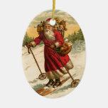 Vintage Santa de esquí Ornaments Para Arbol De Navidad