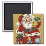 Vintage Santa del KRW e imán del navidad de los ju