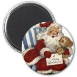 Vintage Santa del KRW e imán del navidad del peluc