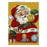 Vintage Santa del KRW y tarjeta de los juguetes