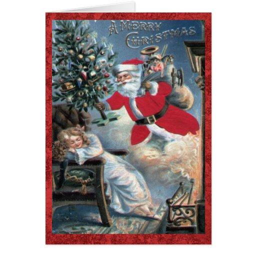 Vintage Santa del navidad con el chica del Tarjeta De Felicitación