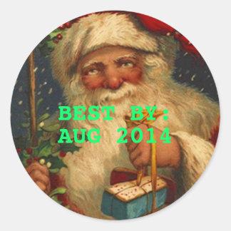 Vintage Santa del pegatina MEJOR POR los regalos d
