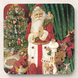 Vintage Santa Delivering Set of Cork Coasters