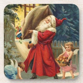 Vintage Santa Delivering Toys Beverage Coaster