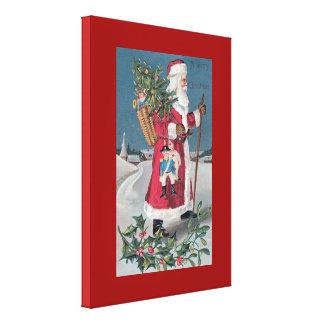 Vintage Santa Delivering Toys on Christmas Canvas Print