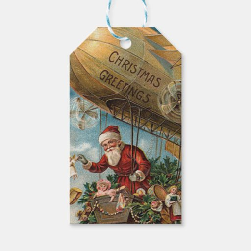 Vintage Santa Delivers Toys by Blimp Christmas Gift Tags | Zazzle