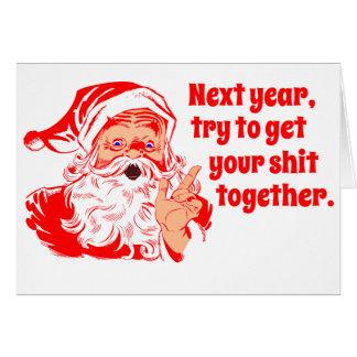 Vintage Santa, el próximo año Tarjeta De Felicitación