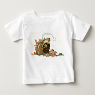 Vintage Santa Elf With Pipe and Sack of Toys Baby T-Shirt