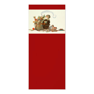 Vintage Santa Elf With Pipe and Sack of Toys Card