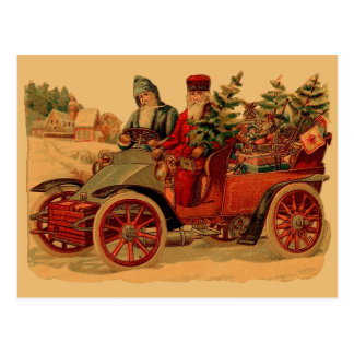 Vintage Santa en automóvil Postal