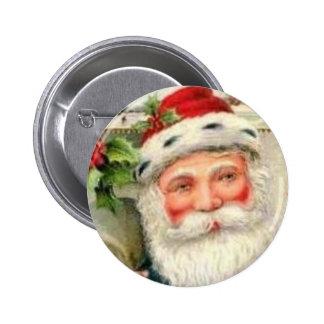 Vintage Santa en azul Pin