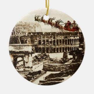 Vintage Santa en el ornamento del navidad de Roma Adorno Navideño Redondo De Cerámica