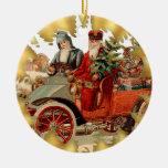 Vintage Santa en el ornamento del navidad del Adorno Redondo De Cerámica