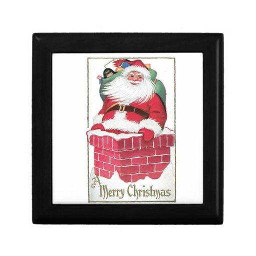 Vintage Santa en el tejado con el bolso de present Cajas De Joyas
