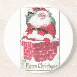 Vintage Santa en el tejado con el bolso de present Posavasos Para Bebidas