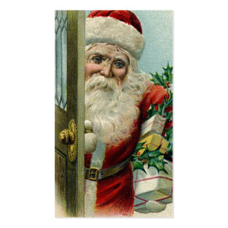 Vintage Santa en la puerta Plantillas De Tarjeta De Negocio