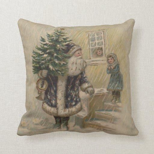 Vintage Santa en nieve Almohadas