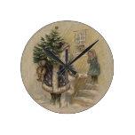 Vintage Santa en nieve Relojes