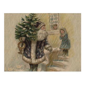 Vintage Santa en nieve Postal