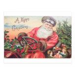 Vintage Santa en su coche con esperar de los niños Postales