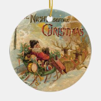 Vintage Santa en su trineo del reno Adorno Redondo De Cerámica