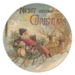 Vintage Santa en su trineo del reno Plato De Cena
