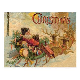 Vintage Santa en su trineo del reno Postal