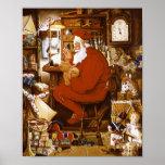 Vintage Santa en tarjeta del taller Posters