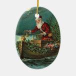 Vintage Santa en un barco Adorno Ovalado De Cerámica
