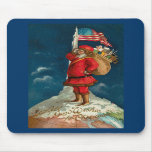 ¡Vintage Santa encima del MUNDO! Alfombrillas De Ratones