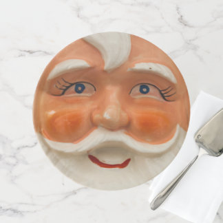 Vintage santa face cake stand