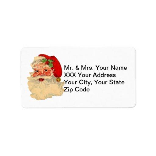 Vintage Santa Face Return Address Labels | Zazzle