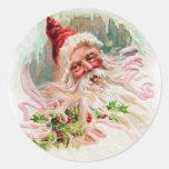 Vintage Santa Face Round Stickers