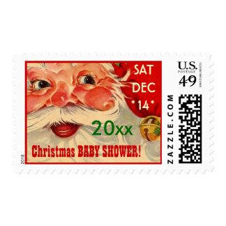 Vintage Santa Face v3C5 CHRISTMAS BABY SHOWER Postage