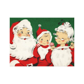 Vintage Santa Family Christmas Canvas Print