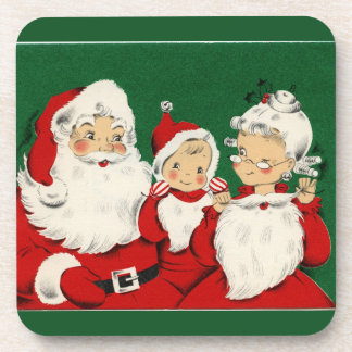 Vintage Santa Family Christmas Drink Coaster