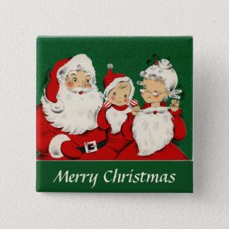 Vintage Santa Family Christmas Pinback Button