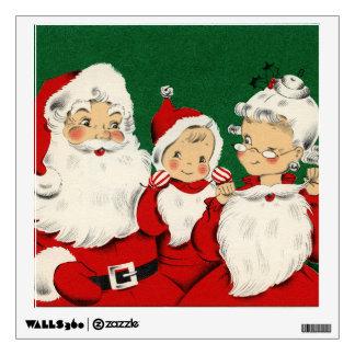 Vintage Santa Family Christmas Wall Decal