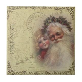 Vintage Santa Father Noel & Child Tile Coaster
