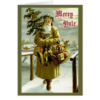 Vintage Santa - feliz Yule Tarjeta De Felicitación