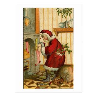 Vintage Santa Filling Stocking Post Cards