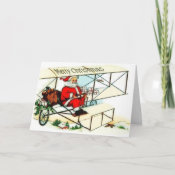 Vintage Santa Flying Bi Plane Christmas Card card