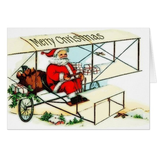 Vintage Santa Flying Bi Plane Christmas Card
