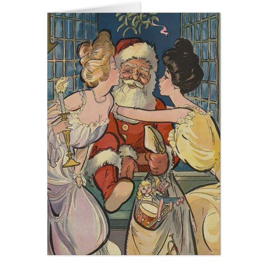Vintage Santa Getting Kisses Under Mistletoe Card