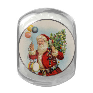 Vintage Santa Glass Candy Jar